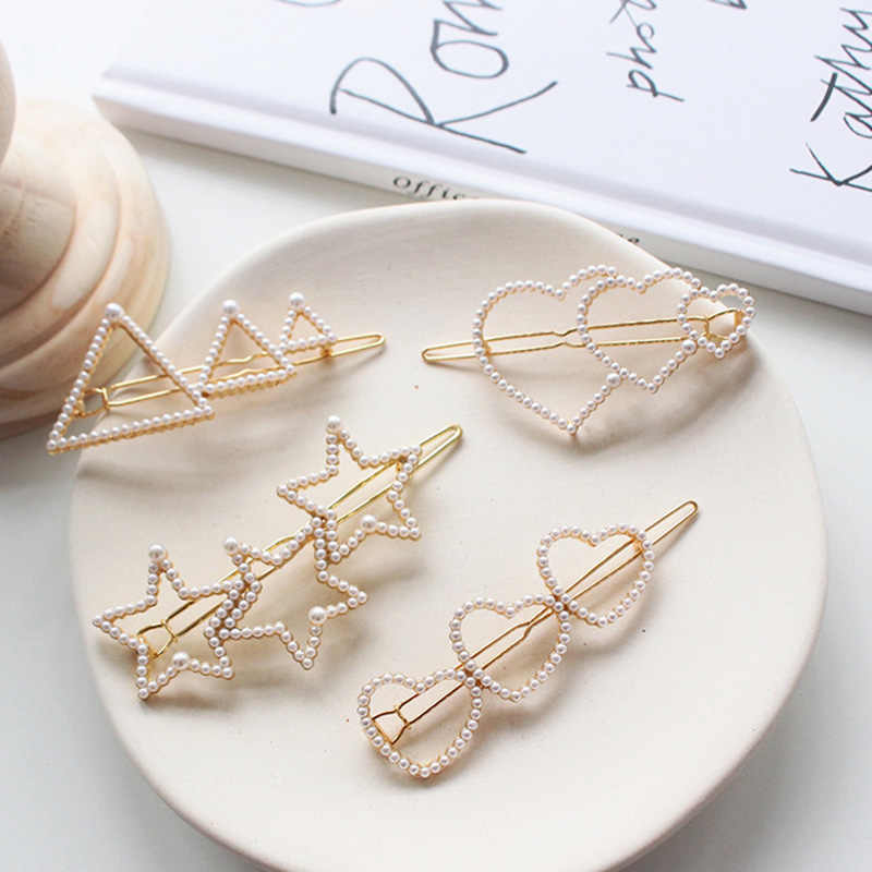 Korea Fashion Pearl Love hearted Five-pointed star Hairpin Geometric Triangle Hairpins Women Girls Hair Styling Accessories