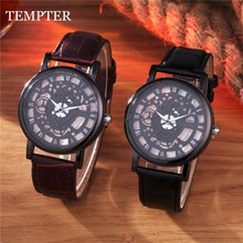 Casual Leather Men Skeleton Watch 2 Colors