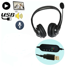 Гарнитура с объемным звуком, 10 шт., наушники с головной повязкой, USB 2,0, с микрофоном, наушники для ПК, игр, Skype