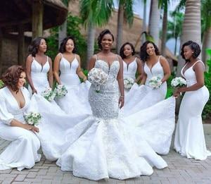 Image 5 - Luxury African Mermaid Wedding Dresses Plus Size 2020 robe de mariee Black Girl Women Lace Wedding Gowns Handmade Bride Dress
