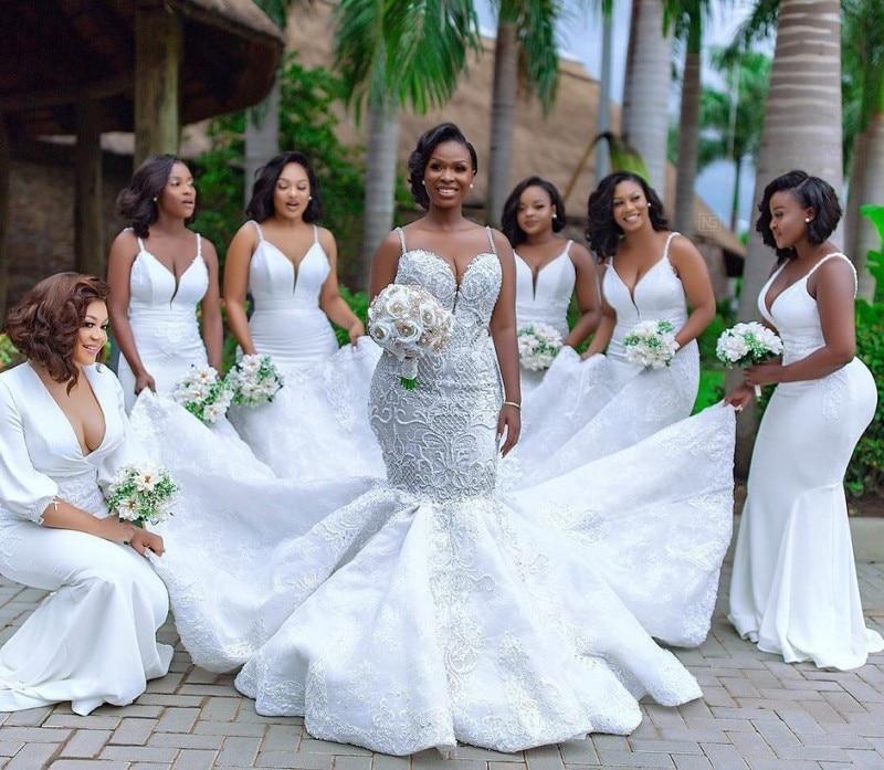 Luxus Afrikanische Meerjungfrau Hochzeit Kleider Plus Größe 2019 robe de mariee Schwarz Mädchen Frauen Spitze Brautkleider Handmade Braut Kleid - 5