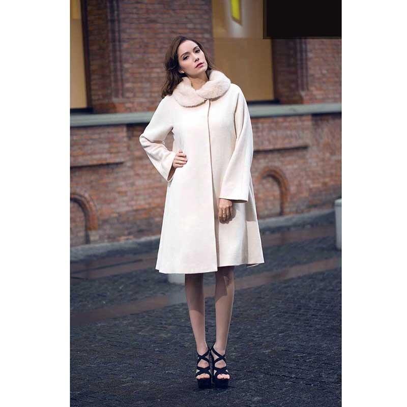 Tranchée Montant Femmes Veste Horloge Lâche Solide D'hiver Manteau gris Col Coupe Mode Beige vent Laine IUdxavq