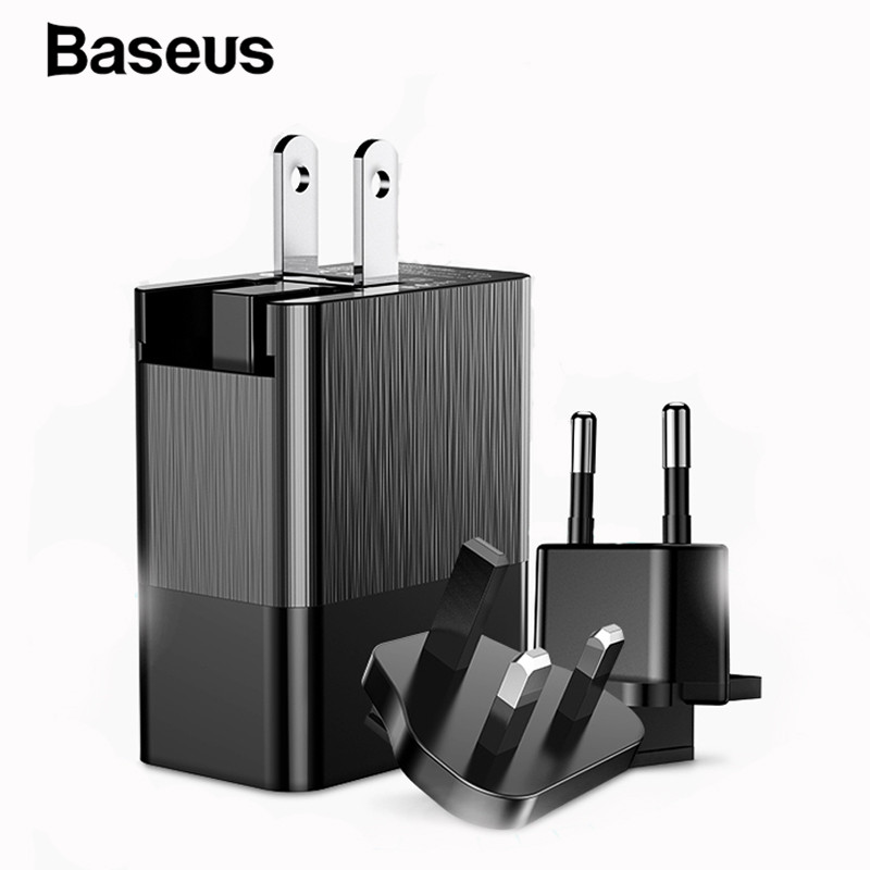 Baseus 3 Ports USB Charger Universal EU US UK Plug 2.4A Fast Charger Charging Travel PhoneCharger for iPhone Samsung XiaomiBaseus 3 Ports USB Charger Universal EU US UK Plug 2.4A Fast Charger Charging Travel PhoneCharger for iPhone Samsung Xiaomi