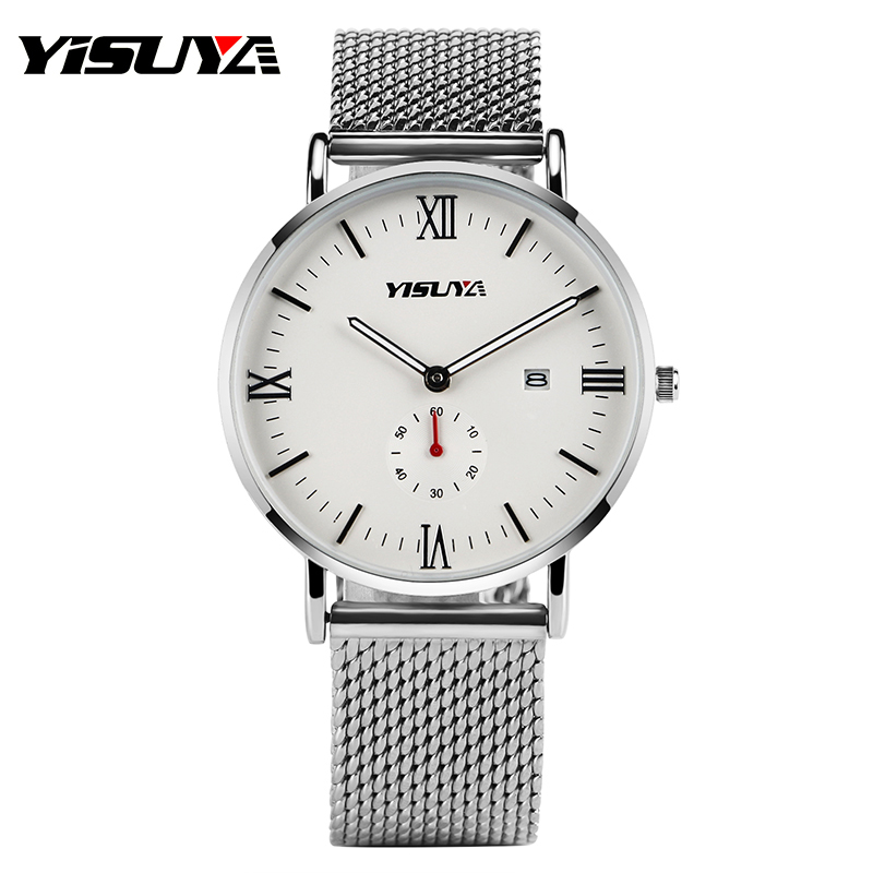 Top YISUYA Luxury Silver Stainless Steel Mesh Band Strap Wrist Watch Casual Date Quartz Wristwatches Men Women Fashion Sub Dial paidu fashion unique brand black silver quartz metal mesh band wrist watch mens boy turntable dial digital gift wristwatches