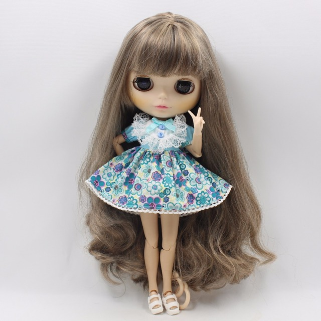 Neo Blythe Doll Blue Flower Outfit With Headdress Dress