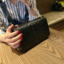 luxury handbags women bags designer black white Crocodile flap bag small clutch gold chain girls crossbody bags for women 2018