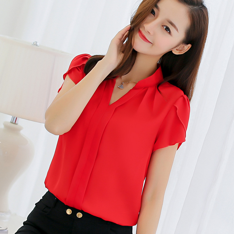 HTB1OTe4cfQs8KJjSZFEq6A9RpXan - Plus Size Blouse Women Summer Short Sleeve Red Office Ladies Chiffon Shirt elegant Work Top Casual Female Clothing