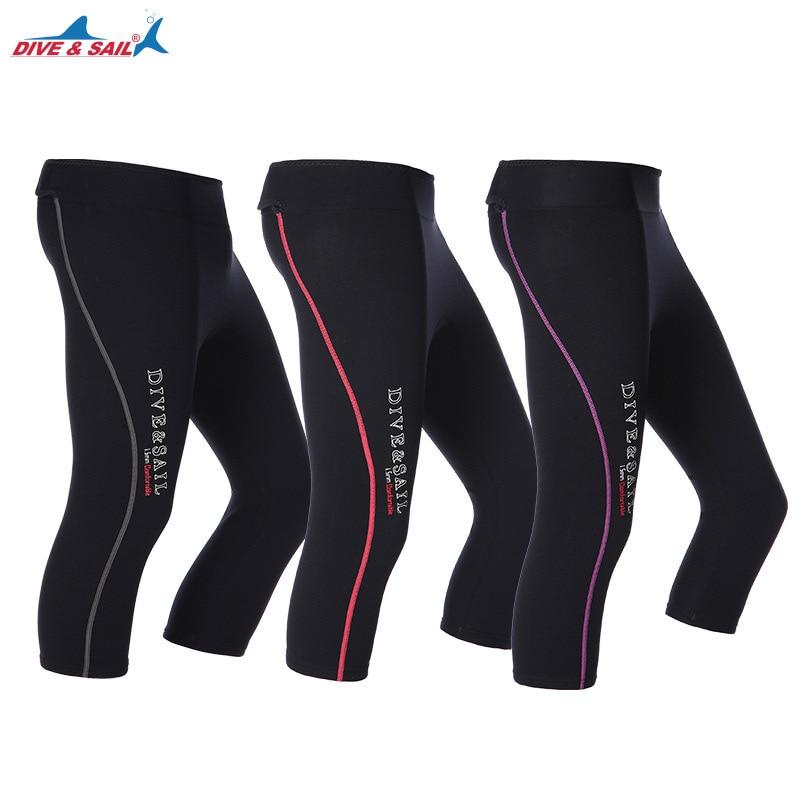 DIVE&SAIL Men Women Capri Pants Wetsuit 1.5mm Neoprene Cropped Trousers Winter Swimming Beach Pants for Rowing Diving Surfing capri pants deha