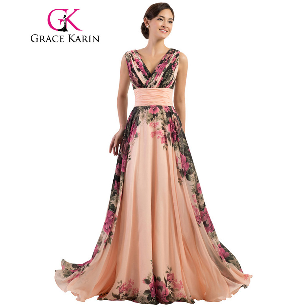 Grace Karin Sexy Backless Flower Long Evening Dress Deep V Neck Floral Formal Dresses Chiffon Robe