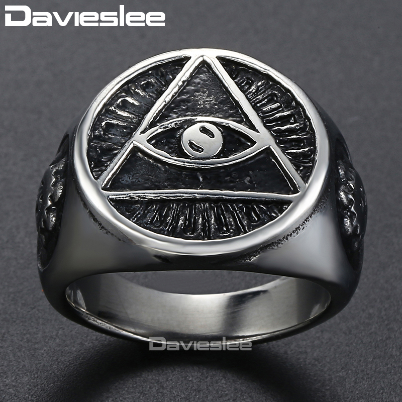 Davieslee Men's Ring Illuminati The All-seeing-eye Pyramid 316L Stainless Steel Ring Gift for Men Jewelry DLHR416 trendsmax ring for men 316l stainless steel gold silver color illuminati pyramid eye ring hip hop jewelry accessories hr365