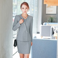 Plus Size Formal Professional Uniform Styles Business Work Suits With Jackets And Dress For Ladies Blazers