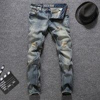 High Grade Men S Brand Destroyed Knee Jeans Slim Fit Waterwashed Denim Jeans Men Classic Style