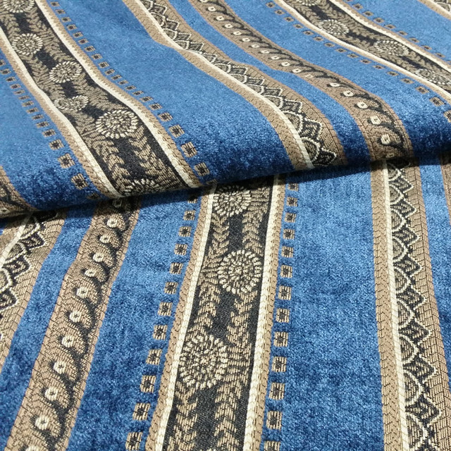 Traditional Blue Stripe Jacquard Woven Heavy Chenille Railroaded Curtain Sofa Upholstery Fabric 280 Cm Width