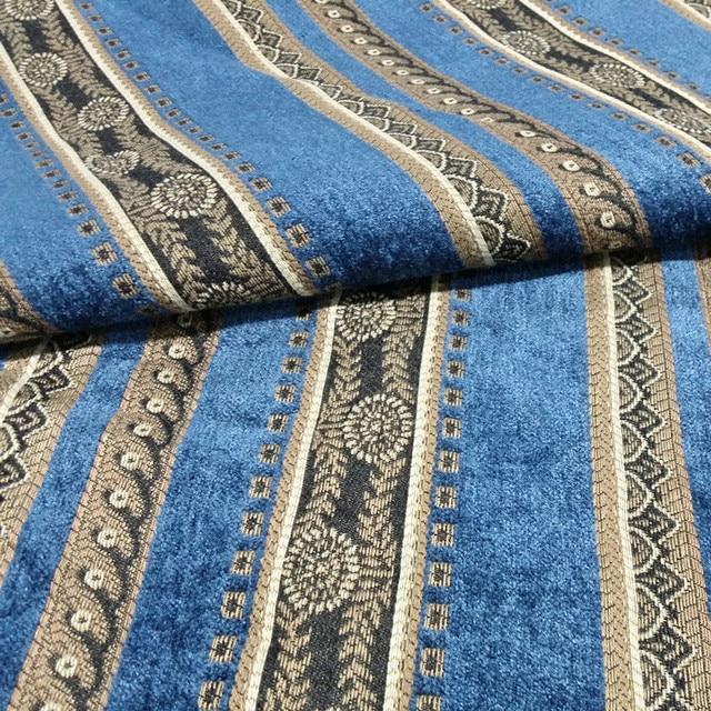 Blue Suede Sofa Modern Leather And Chrome Chairs Traditionelle Blaue Streifen Jacquard Gewebt Schweren ...