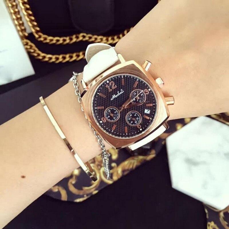 Fashion Women Calendar Watches Lady s Luxury Wristwatches Genuine Leather Dress Watch Square watch Bracelet Clocks