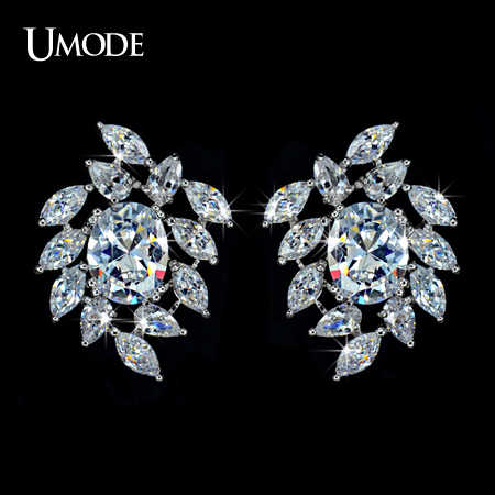 UMODE Poem of Spring Top quality Cubic Zirconia Bridal Big Stud Earring UE0031