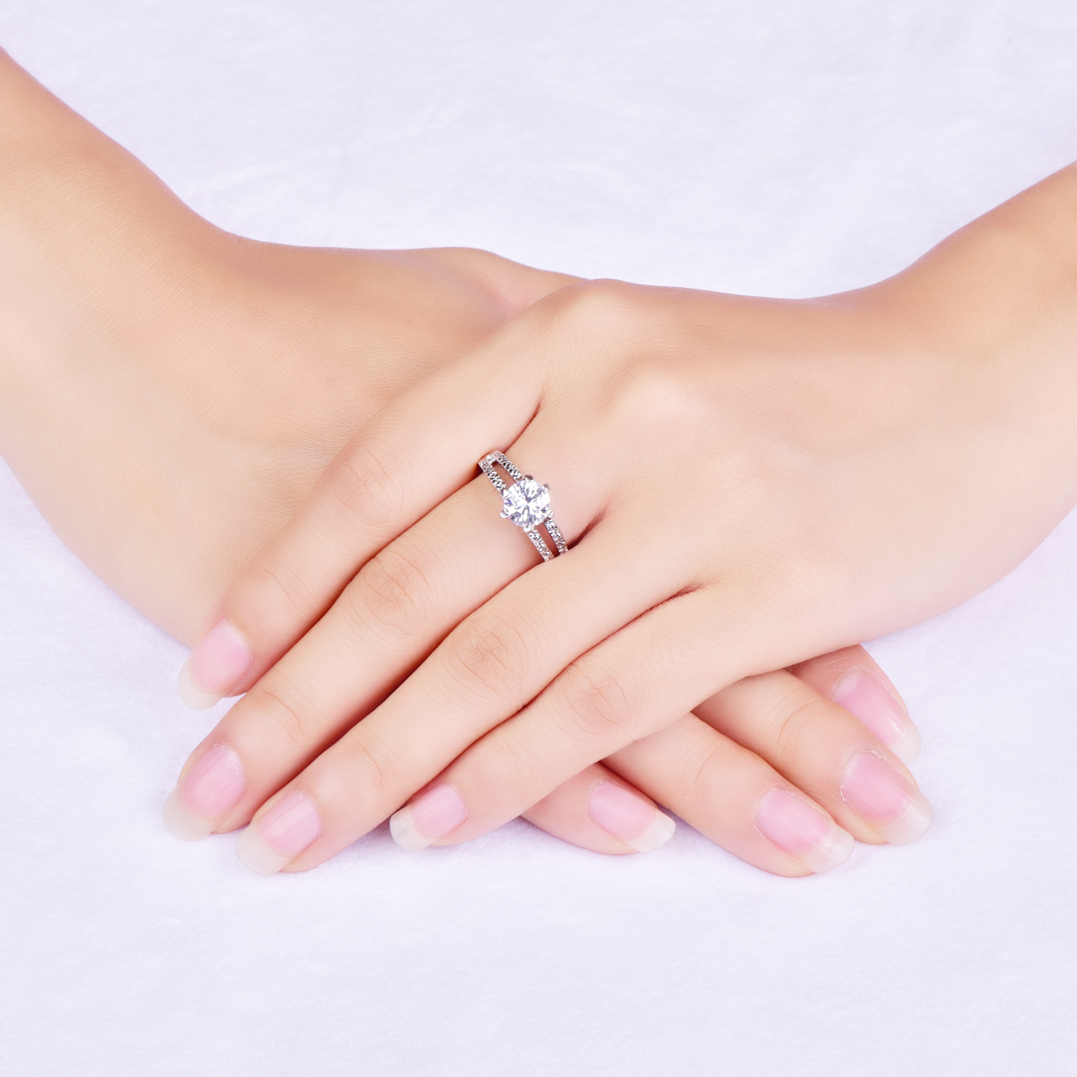 Women fashion Zircon ring white Jewelry Vintage wedding ring Silver ...