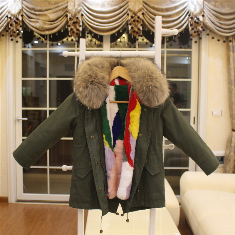 Fashion Girls Fur Coat Baby Outerwear 100% Rabbit Fur Liner Windbreaker Kids Coats&Jackets For Cold Winter Warm Parkas For Boys winter kids rex rabbit fur coats children warm girls rabbit fur jackets fashion thick outerwear clothes