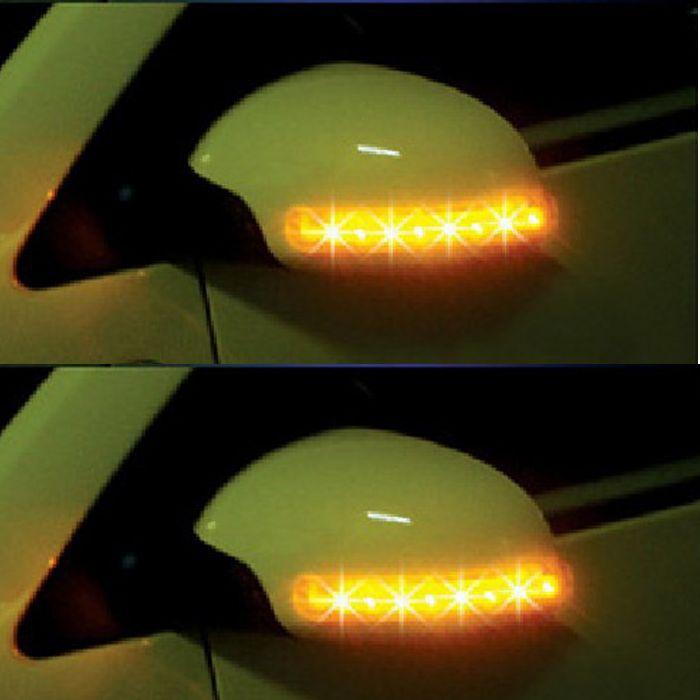 2PCS Universal Car Amber SMD 8LED 12V Rearview Mirror Lights Turn Signal Lights