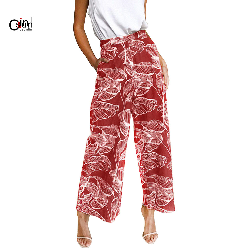 Osunlin 2019 Spring And Summer Women's Fashion Printing Leaves High Waist Casual   Wide     Leg     Pants   Summer Trousers