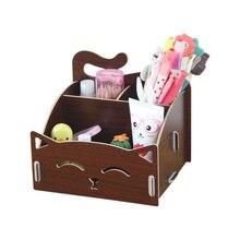 Wooden Box Cute Cat Pen Box Desktop Storage Assembly DIY Wood Makeup Organizer Cosmetics Storage Box 15.4*13*13.5cm