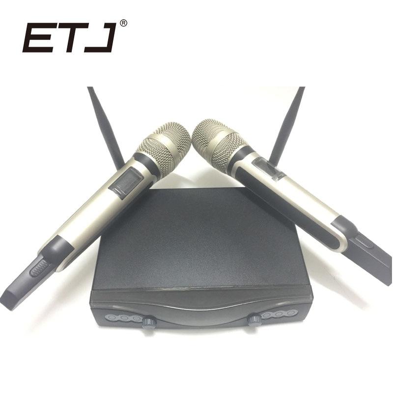 ETJ Brand SKM9000 Wireless Microphone VHF Wireless System Dual Microphone etj brand wireless vhf changable handheld bodypack headset lavalier microphone dual wireless microphone u 201