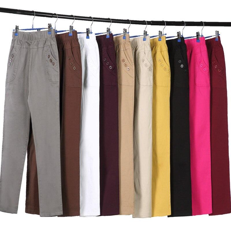 Plus Size 5XL Spring Casual High Waist Straight Pants Women Middle-Aged Long Women Trousers Pantalon Femme Cotton Pants C5204