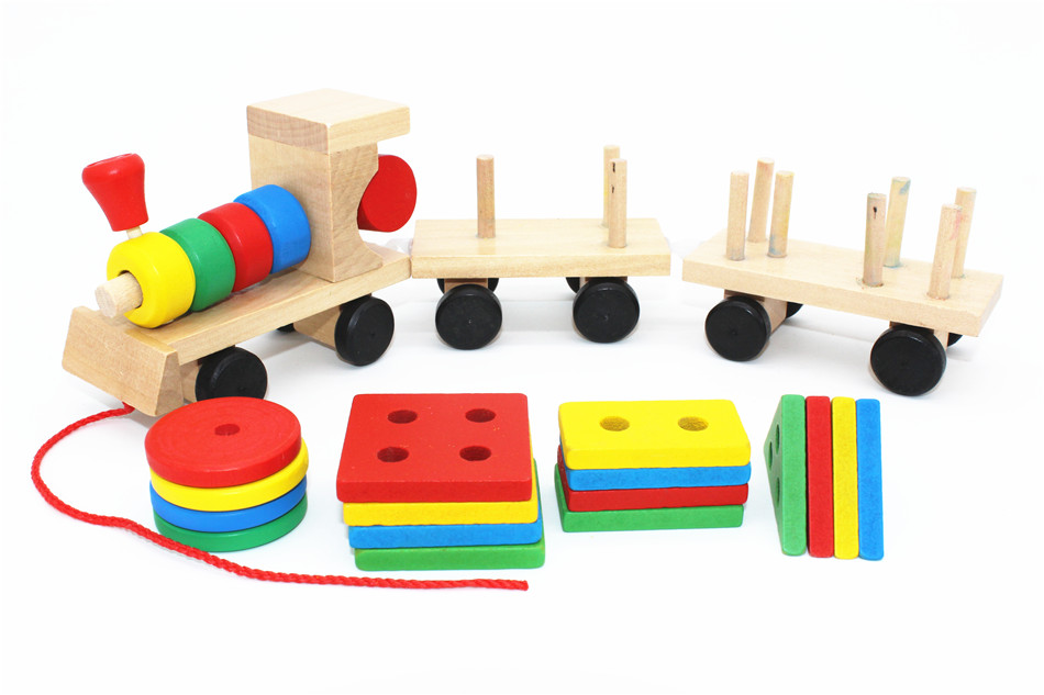 SUKIToy classic wooden models building toys blocks train for children boys Montessori game for kids gift shape matching 5