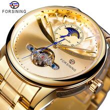 Forsining Tourbillon Automatic Men Watch Classic Golden Male Clock Moon Phase Mechanical Stainless Steel Band Wristwatch Relogio недорого