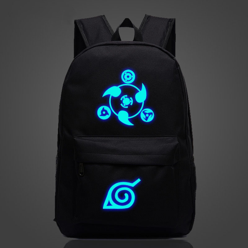 Japan Anime Naruto Luminous Backpack Uzumaki Printing Bagpack Laptop Travel Book School Bag Nylon Rucksack For Collage Students
