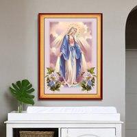 Diamond Painting Round Full Diamond Christian Jesus Virgin Mary Sitting Room Large Paste Cross Stitch Diamond