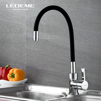 LEDEME Yellow Kitchen Basin Faucet Brass Rubber Swivel Single Handle Bar Hot Cold Water Tap Mixer For Kitchen Bathroom L4898 4