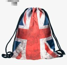 1 piece retro 3D USA UK Flag Printing Drawstring Bag American Backpack Printed Double Sides Schoolbag