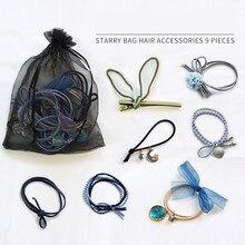 1 set / 9 pieces of starry head rope star hair headdress fresh Sen female girl heart ring accessories