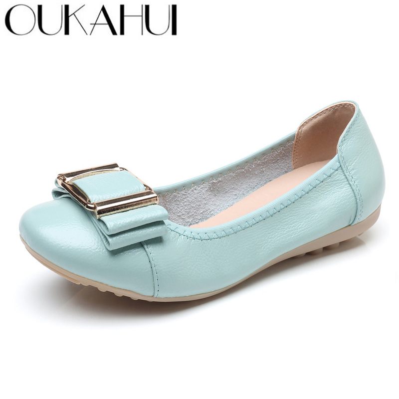 2018 new women leather shoes woman single shoes shallow round tow spring autumn ballet flats shoes women casual shoes OUKAHUI Spring Autumn Elegant Genuine Leather Flat Shoes Women Ballet Flat Low Heel Shallow Bowknot Flats Casual Woman Shoes 43
