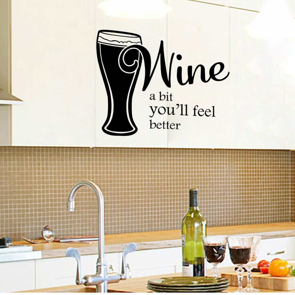 Wine A Bit Quotes Wall Sticker Bedroom Living Room Kitchen ...