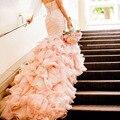 Милая Pleat Русалка Свадебные Платья Blush Pink Труба Свадебные Платья Бисероплетение Пояс Свадебные Платья Vestido де novia роскошные