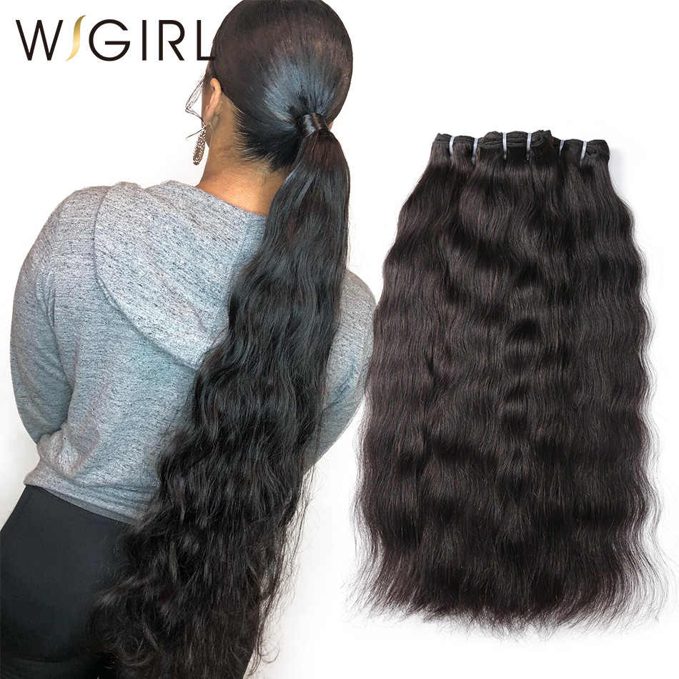 Wigirl 28 30 Inch 3 4 Deals Natural Straight Raw Indian Virgin Human Hair Bundles Double Drawn Extension Unprocessed Weaves
