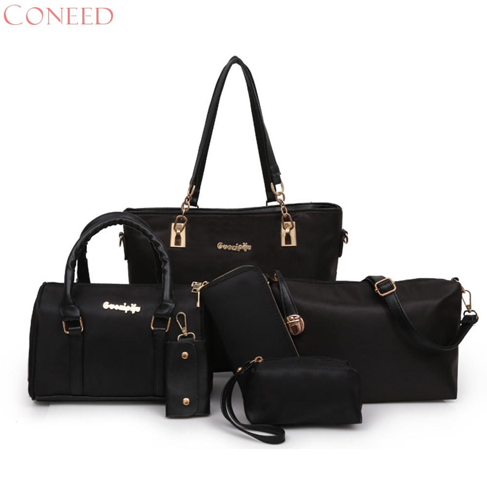 CONEED Casual Women Soft Pu Leather Handbag Female Shoulder Bag Messenger Bag Handbag Tote Purse Set  j3w30