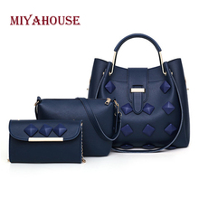Miyahouse 3pcs/set Handbags Women New Fashion Bucket Bag High Quality Female Messenger Bag Candy Color Girls Composite Bags