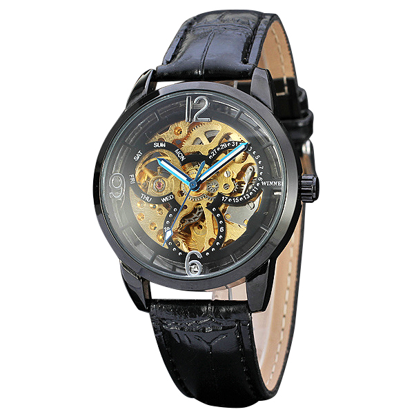 где купить 2017 Men Watches Top Brand Luuxry Skeleton Dial WINNER Male Automatic Mechanical Wrist Watches Leather Strap Montre Homme +BOX по лучшей цене