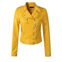 2018 новые модные женские туфли мотоциклетные куртка из искусственной кожи женские осенние короткие погон Застёжки-молнии пальто Горячая Цвет черный, белый, желтый; Большие размеры 34–43 верхняя одежда