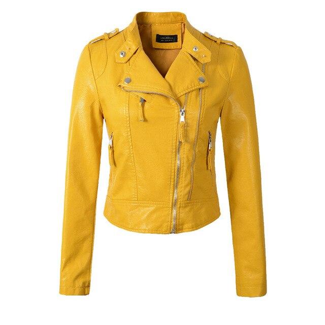 2018 New Fashion Women Motorcycle PU Leather Jackets Female Autumn Short Epaulet Zippers Coat Hot Black White Yellow Outwear