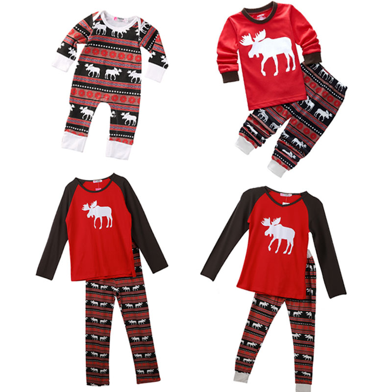 2017 Christmas Family Pajamas Set Adult Kids Sleepwear Nightwear Pjs Photgraphy Prop Party Clothing Xmas clothes for new year