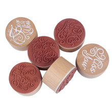 6 PCS Round Wooden Rubber Retro Good Wishes Pattern Stamps Beauty Rubber Stamp for Scrapbooking Paper Cards Decorations J2Y