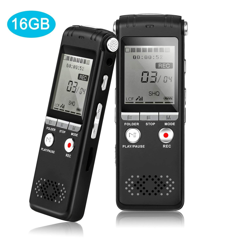 Enregistreur vocal numérique 16 GB son Audio Dictaphone lecteur MP3 enregistrement automatique fichier réduction du bruit classe de Lecture entretiens