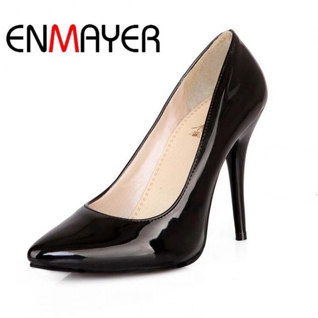 Enmayer 7 colores mujeres stiletto zapatos de tacón alto del dedo del pie puntiagudo Sexy Moda de La Boda Sexy Bombas de la Plataforma Talones de Gran Tamaño 34-44