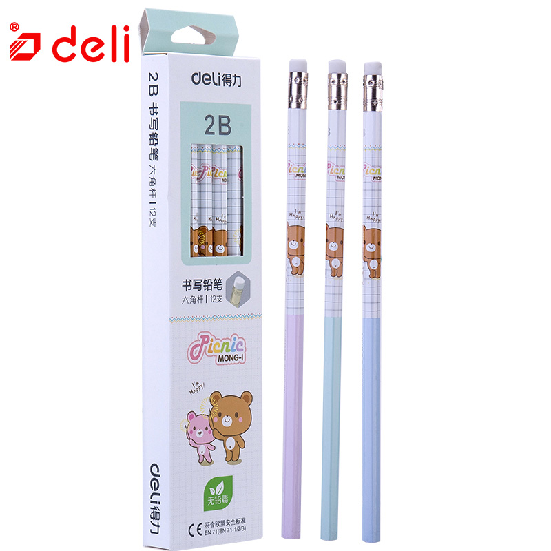 Deli 12 pcs Cute Carbon black pencil Wood Standard 2B pencils with eraser drawing Standard Stationery Office & School Supplies 12pcs candy color cute pencil hb 2b school stationery store student kids triangle graphite drawing sketch wood pen office supply