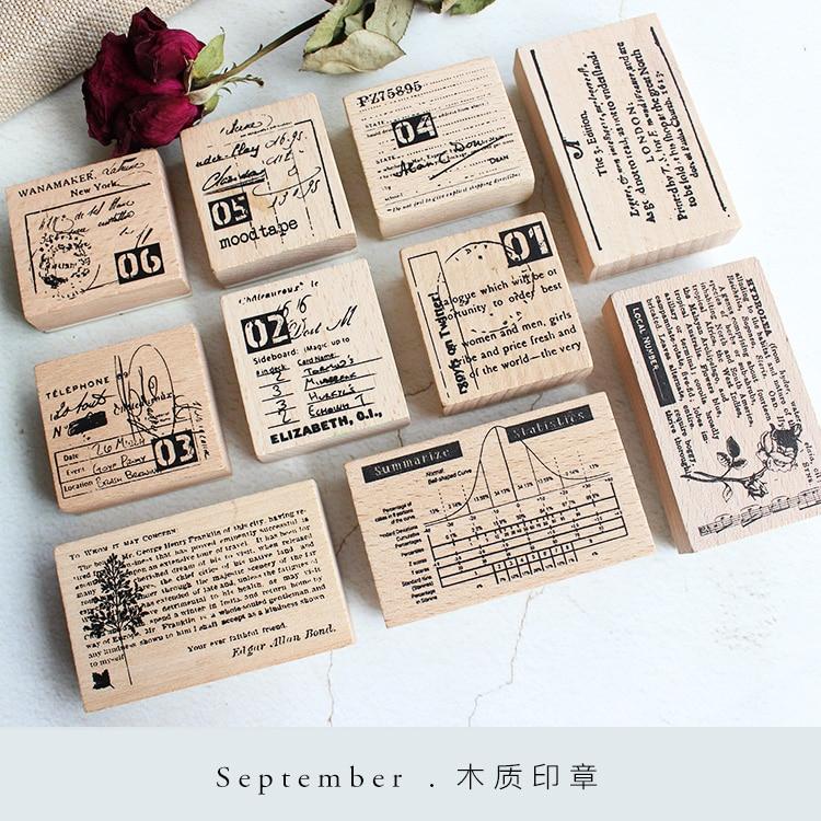 Moodtape Vintage Wood Clear Stamp For DIY Scrapbooking/photo Album Decorative Stamp Numeral Lora Digital Rubber Stamp Seal