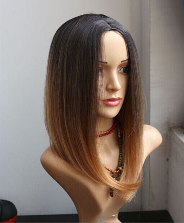 Two colour 2016 Two Tones Ombre Wig Medium Long Straight Synthetic Hair Wig  for Black Women Perruque Peruk Afircan American Wigs on Aliexpress.com  acf81e4bc